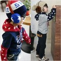 Free shipping One piece Children cool fashion star pattern boys girls kids sweatershirts hoodies 2015 KT012A