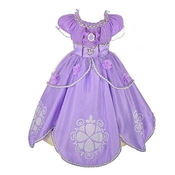 FindPitaya, vestido morado enredado para niñas, disfraz de princesa de pelo largo, disfraz de Sofía para fiestas, vestido de Halloween de 3 a 10 años