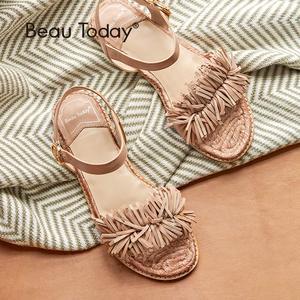 Image 2 - BeauToday Summer Sandals Sheepskin Genuine Leather Fringe Detailed Buckle Strap Women Rope Sole Flat Heel Shoes Handmade 32049