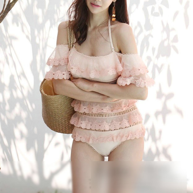Bathing Clothes 1 Piece Swimsuit Woman One Suit Solid Swimwear Women Swimming For Push Up 2018 New Cascading Lace Hollow Cake niumo new spa one piece swimming suit woman gather swimsuit