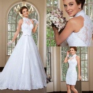 Image 1 - Zarif Bir Çizgi Yüksek Boyun düğün elbisesi 2016 Ayrılabilir Etek düğün elbisesi es Sweep Tren gelinlikler