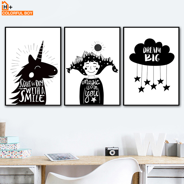 Colorfulboy unicorn boys big dream wall art print canvas painting poster black white wall pictures nordic
