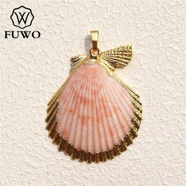 Fuwo natural scallop shell pendant 24k gold electroplated fuwo natural scallop shell pendant 24k gold electroplated multicolour seashell minimalist coastal jewelry wholesale pd530 aloadofball Image collections