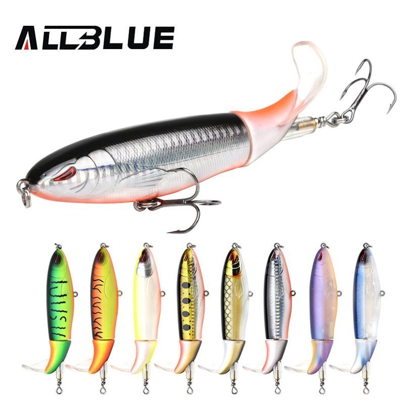 Allblue 130MM 38g Whopper Plopper Hard Lure Rotating Tail Fishing Wobblers Lure Artificial Bait Fishing Tackle Swimbait Pesca