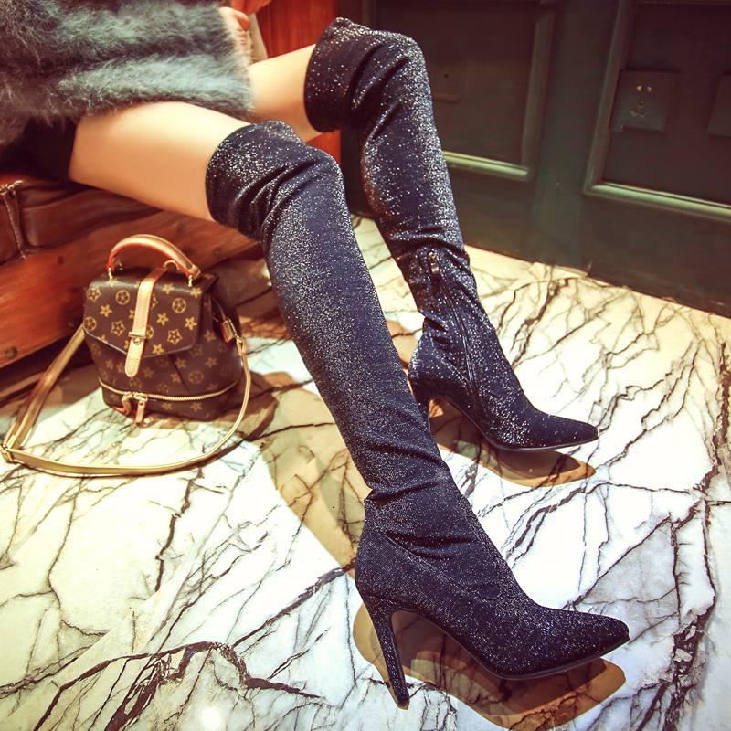 New Fashion Brand Winter Shoes Large Size Stretch High Heel Sweet Women Over-the-knee Boots Pointed Toe Causal Thigh High Boots new 2017 spring summer women shoes pointed toe high quality brand fashion womens flats ladies plus size 41 sweet flock t179