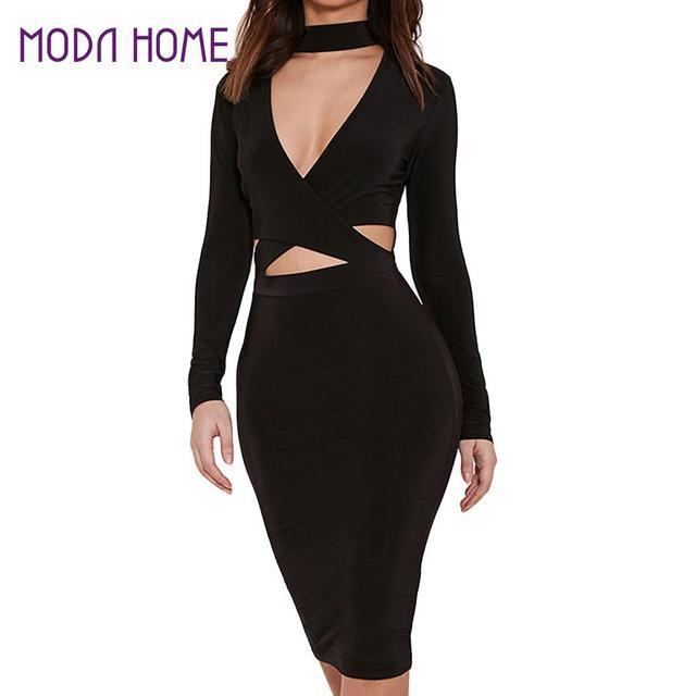 Zwarte midi jurk met lange mouwen