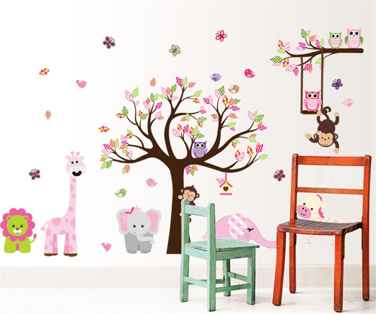 Latest Xxl Cartoon Animals Zoo Owl Butterfly Monkey Wall Stickers For Kids Room Home Decor Colorful Tree Decal Stick On Wall