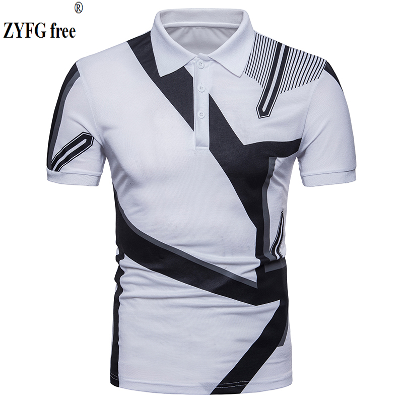 2018 New Tops   polo   shirt Male Casual style fashion brand summer geometry patchwork Short Sleeve   POLO   shirt dress men EU/US size