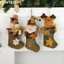 FUNNYBUNNY Cute Christmas Stockings SackSock GiftBag Filler Santa Xmas Hanging Decoration