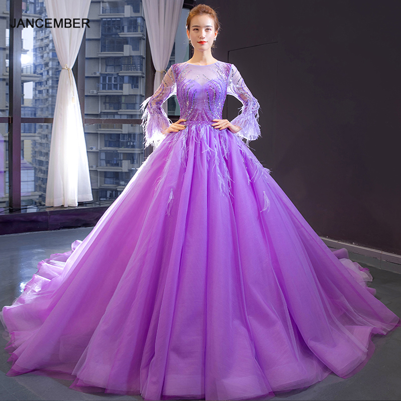 J66911 Jancember Purple Long Evening Gown 2019 O-neck Long Sleeves Botton Back Ball Gown Lace Prom Dress Evening платье вечернее