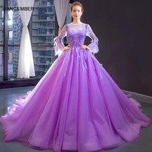 J66911 jancember violet longue robe de soirée 2019 col rond manches longues botton dos robe de bal en dentelle robe de bal de soirée
