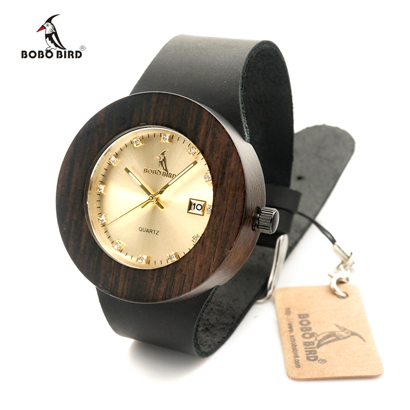 2017 BOBO BIRD Brand Men and Women Wood font b Watches b font with Genuine Leather