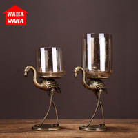European Ostrich Candlestick Creative Metal Glass Candlestick Home Living Room High end Decorative Ornaments Wedding Supplies