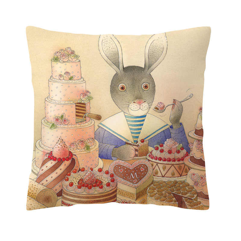 الدافئة الكرتون المخدة أرنب كعكة التلفزيون الثعلب الجزرة مربع رمي وسادة نوم أريكة 43*43 سنتيمتر الخوخ الجلد الديكور غطاء الوسادة