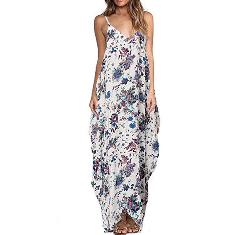 Print Floral Loose Boho Bohemian Beach Dress Women Sexy Strap V-Neck Retro Vintage Long Maxi Dress Summer 2018 Plus Size 3XL 1