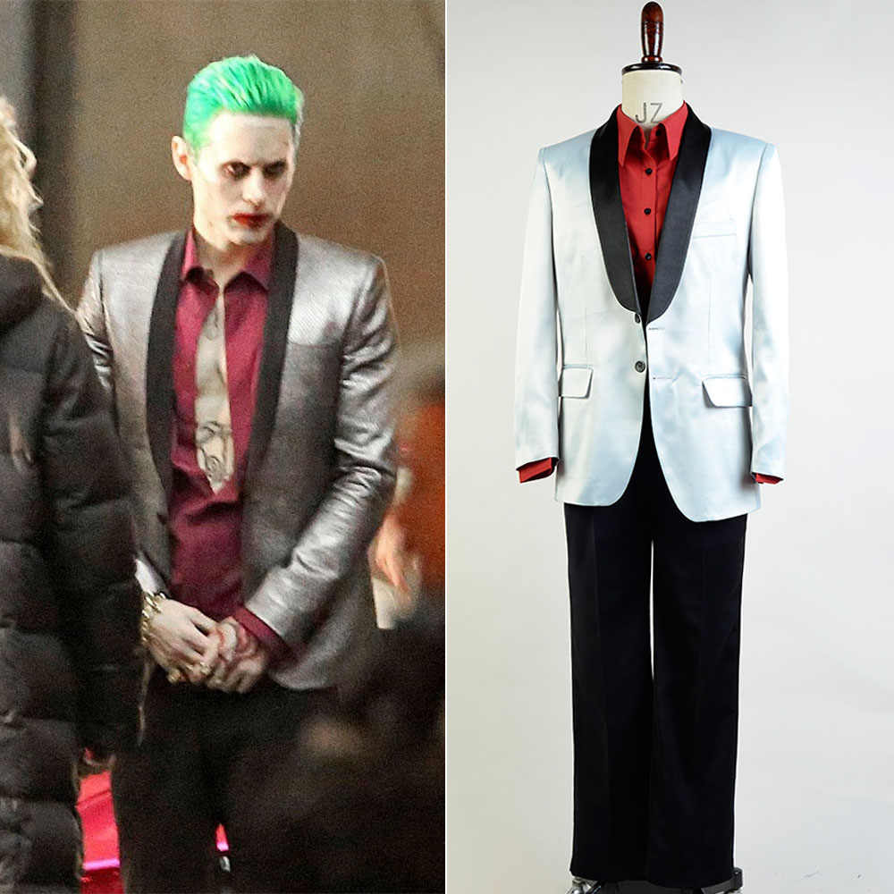 71074dbf82bd6 Batman Suicide Squad Jared Leto Joker Suit Cosplay Costume For Halloween  Party Boy Male Daily Wear