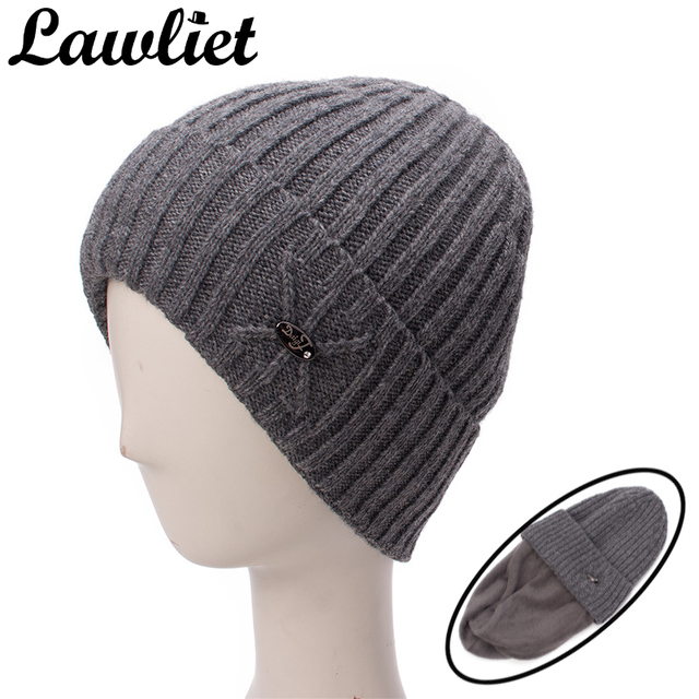 69bfd18b2893c Lawliet Knitted Man Winter Hat Skullies Beanies Solid Ribbed Wool Baggy Cap  Soft Warm Fleece Lined Male Hats Bonnet Ski Cap A471
