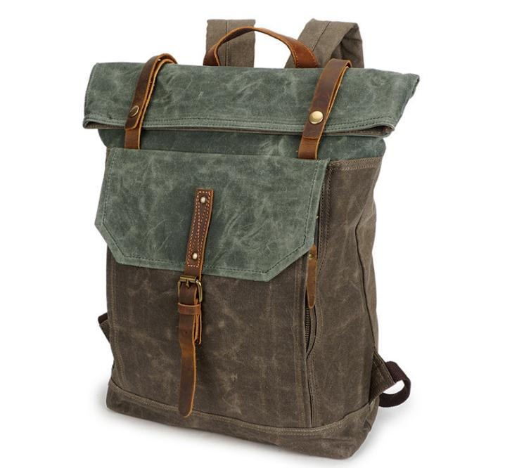 Backpack crazy horse leather bag vintage travel canvas bag waterproof backpack pinepoxp bag