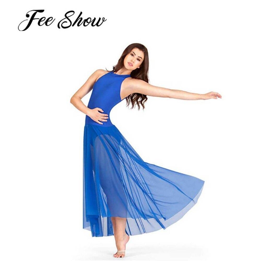 Women Lady Sleeveless Ballet Leotard Bodysuit Dresses Adult Mock Neck Ballet Dance Stage Performance Tutu Dress with Mesh Skirt
