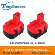 2x BAT040 14.4V 2000mAh Rechargeable Battery Pack Power Tools Battery Cordless Drill Replacement for Bosch 3660CK Ni-CD