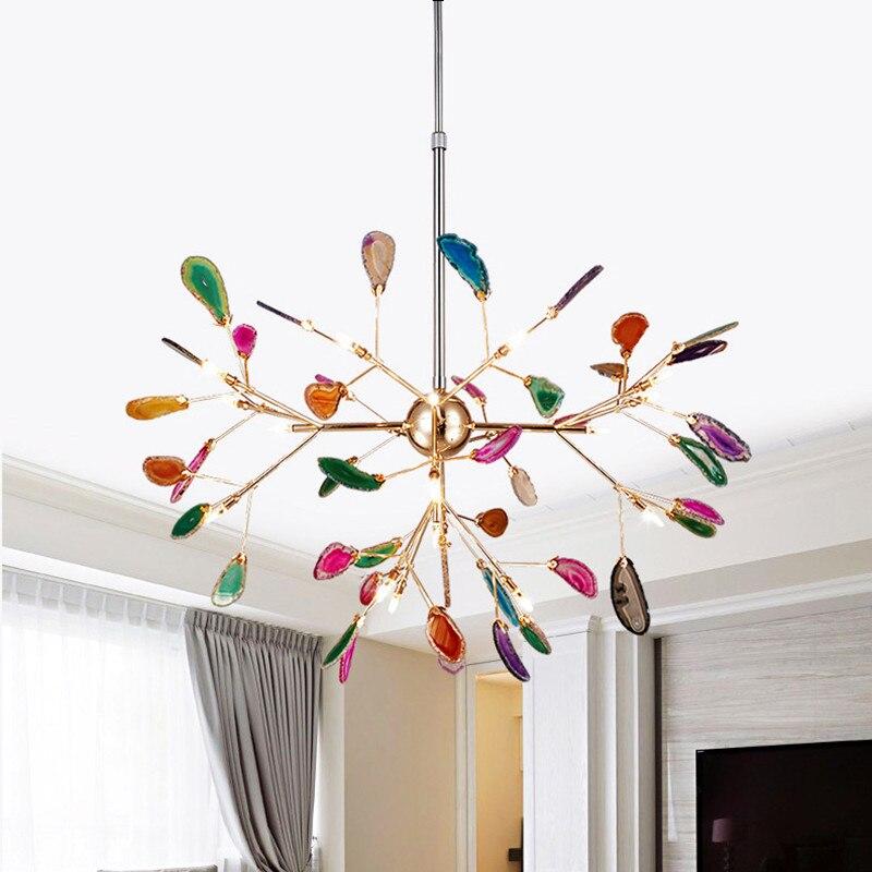Italian Design Tree Chandelier Lamp Bedroom Living Room Kitchen Scandinavian Chandelier Natural Agate Decor Luminaria Pendente
