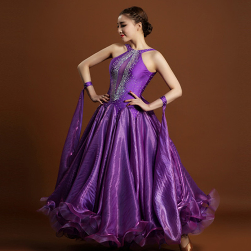 Exquisitos vestidos de competencia de baile de salón de diamantes de imitación púrpura púrpura vestido de salón para baile de salón vestido de vals tango foxtrot