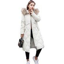 2018 New Winter Jacket Women Ladies Warm Thick Down Cotton Faux Fur Collar Hooded Parkas Quality Long Female Jackets цены онлайн