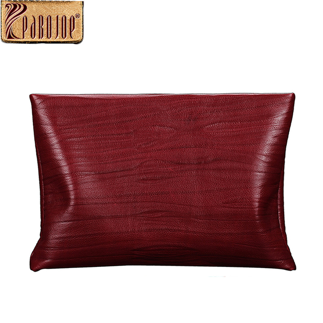 Pabojoe Women Day Clutch Bags Genuine Cow Leather Mens Fashion Business Handbags Travel Holder Casual Organizer (Claret Red)