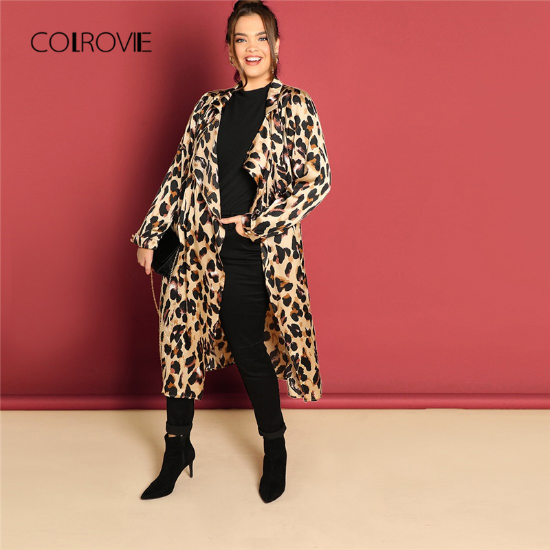 COLROVIE Plus Size Waterfall Leopard Print Long   Trench   Coat Women 2018 Winter Cardigan Streetwear Office Ladies Outerwear Coats