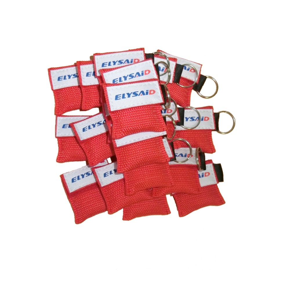 100Pcs/Pack CPR Mask Face Shield Resuscitator Keychain One-way Valve First Aid Mouth Breath Rescue Mask Red Pouch