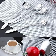 4Pcs Dessert Coffee Spoon Flower Stainless Steel Silver Teaspoons stirring Spoons Kitchen Tableware Tool