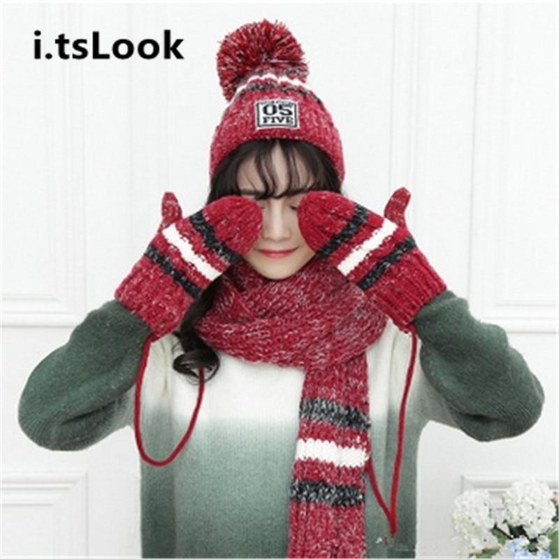 Girl Knitted Beanie Plus thick velvet Hat Scarf Gloves Set ...