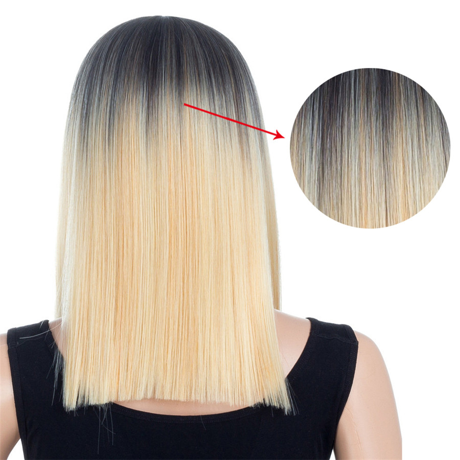 XCCOCO Straight Wig 150% Density Synthetic Fiber Wig 16 Inch Heat Resistant For Women