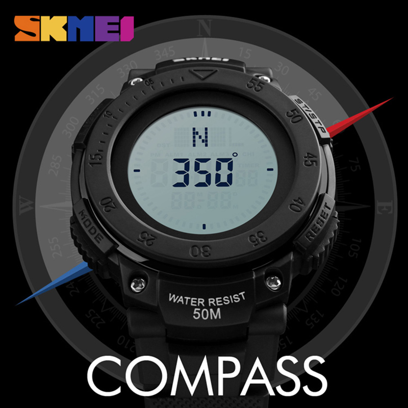 SKMEI Outdoor Sport Compass Watch Men Digital Wristwatches Countdown Chrono Military Army Watches Waterproof Relogio Masculino купить недорого в Москве
