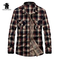 High quality Brand Men's Casual Shirt Fashion Plaid 100% Cotton Plus Size Long Sleeve Casual Shirts Men Pull Home  C16C1677