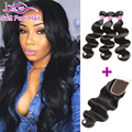 8A Brazilian Virgin Hair With Closure 3 Bundles With Closure Brazilian Body Wave With Closure Tissage Bresilienne Avec Closure