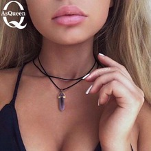 Pu leather natural crystal stone opal choker necklace Gold fashion boho choker for women jewelry party gift