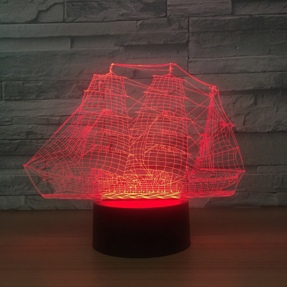 Sailing Boat Ship 3D LED Night Light 7 color changing USB Table Desk Lamp For Baby Sleeping Lighting 3D Lamp