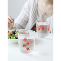 creative strawberry printed tea set shot glass cup cool water teapot cup high temperature resistance drinking glasses gift box