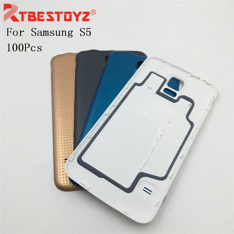 RTBESTOYZ 100Pcs Replacement For Samsung Galaxy S5 i9600 G900F G900H Chassis Back Housing Rear Cover Battery Door Case