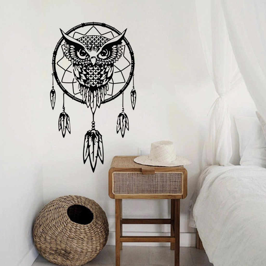 PVC black easy to paste non-toxic owl shop dream net pattern wall stickers bedroom decoration creative wall stickers H0516