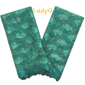 LadyQ Best Selling Guipure Lace Fabric White African Lace With Stones Teal Swiss Cord African Lace Fabric 2018 High Quality Lace