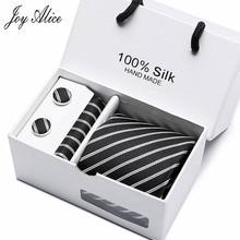50styles 7.5cm wide  Korean Necktie Blue Black striped  Necktie Handkerchief Cuff links Polyester Tie Sets with Gift Box Packing polyester bow tie necktie black