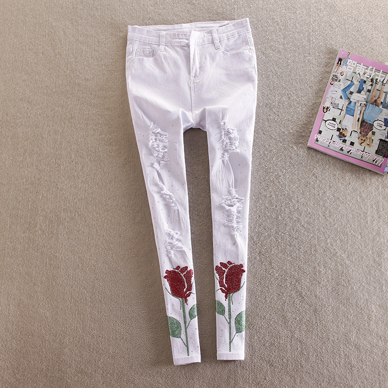 7ddb6673d4f New Plus Size Rhinestones Jeans For Women Skinny Ripped Jeans Black Roses  Embroidered Jeans Woman Elastic Denim Pencils pants-in Jeans from Women s  Clothing ...