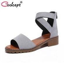 a38baaf76 Coolcept Sandálias de Salto Alto Com Zíper Cor Sólida Do Vintage das  Mulheres Sapatos de Festa de Verão Sandálias de Salto Gross.