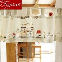 Cartoon Lattice Korean Style Fresh Cotton Hemp Door Curtains For Living Room Bedroom Short Curtains Cloth