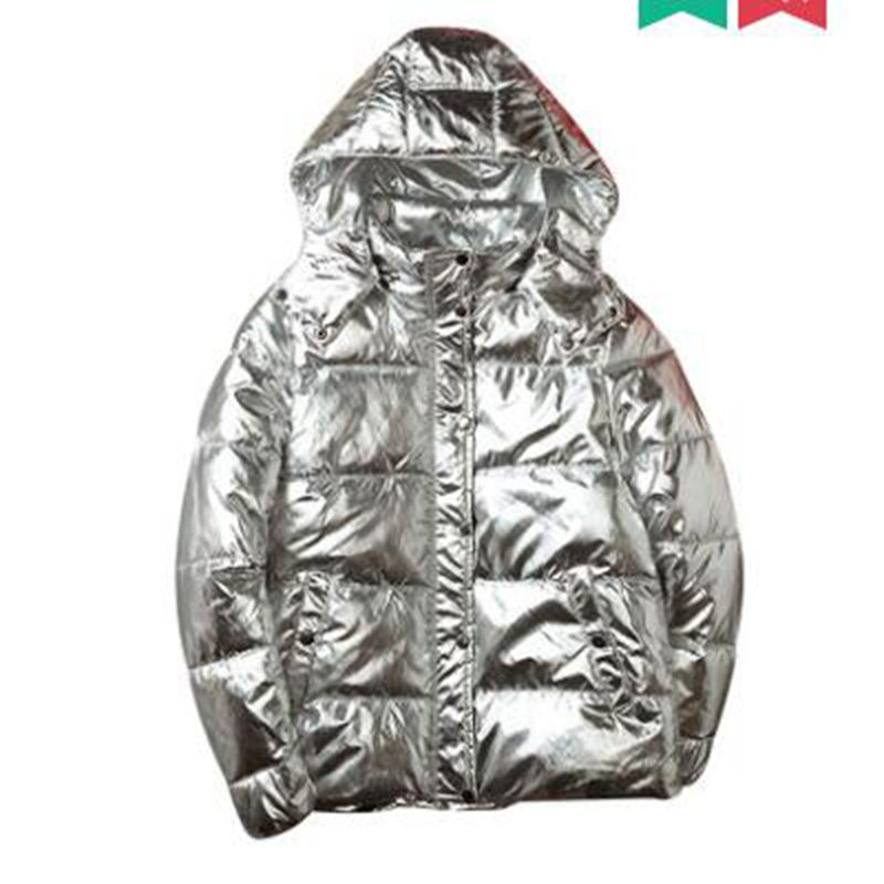 new Silver Bright man Jacket Couple jacket Winter Warm Down Cotton Padded Short   Parkas   Fashion Men's Bomber Hooded Outwear