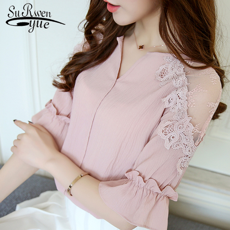 2019 summer pink chiffon women shirt blouse fashion short sleeve v-neck women's clothing shirt lace women's tops blusas D678 30(China)