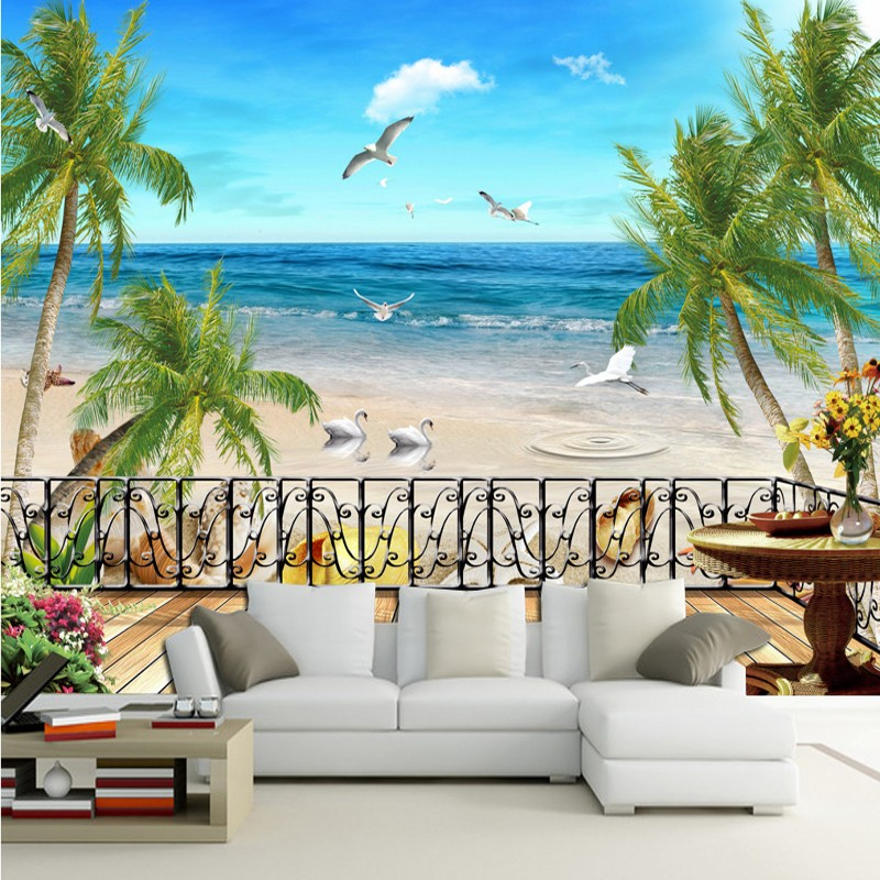 custom 3d photo wallpaper natural landscape beach sea view