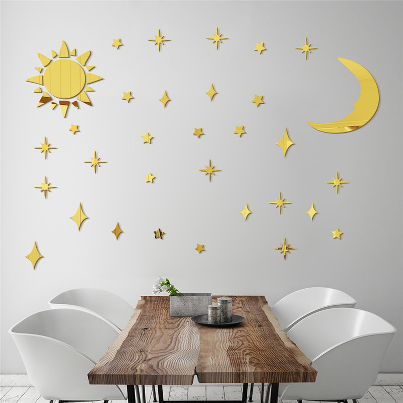 Sun Moon Stars DIY Acrylic Mirror Wall Stickers 3D Wall Stickers For Kids Rooms Ceiling Decoration Wall Decals